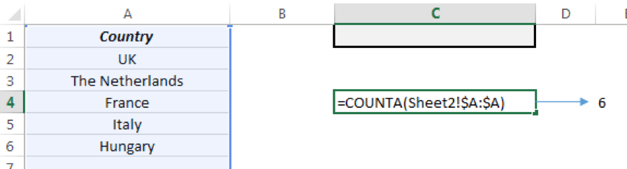 Use the COUNTA function to calculate the number of items on the list.