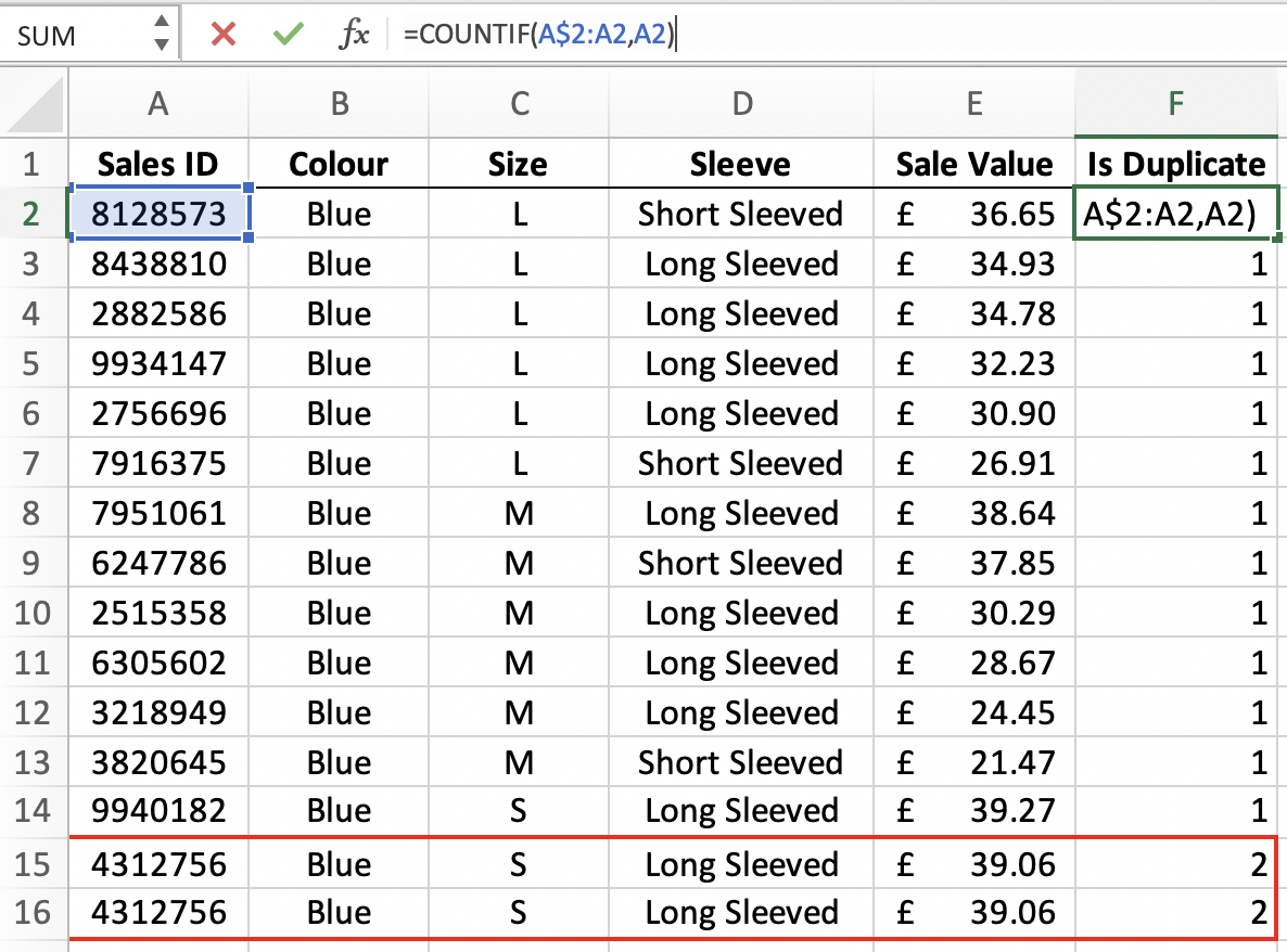 Alternatively, use a function to identify the rows where duplicates occur.