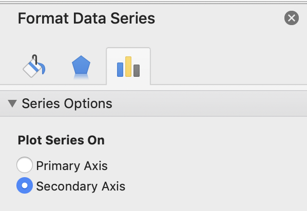 The Format Data Series Menu (on Excel for Mac)