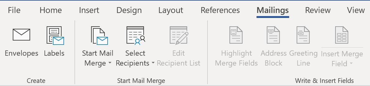 Using Mail Merge in Word