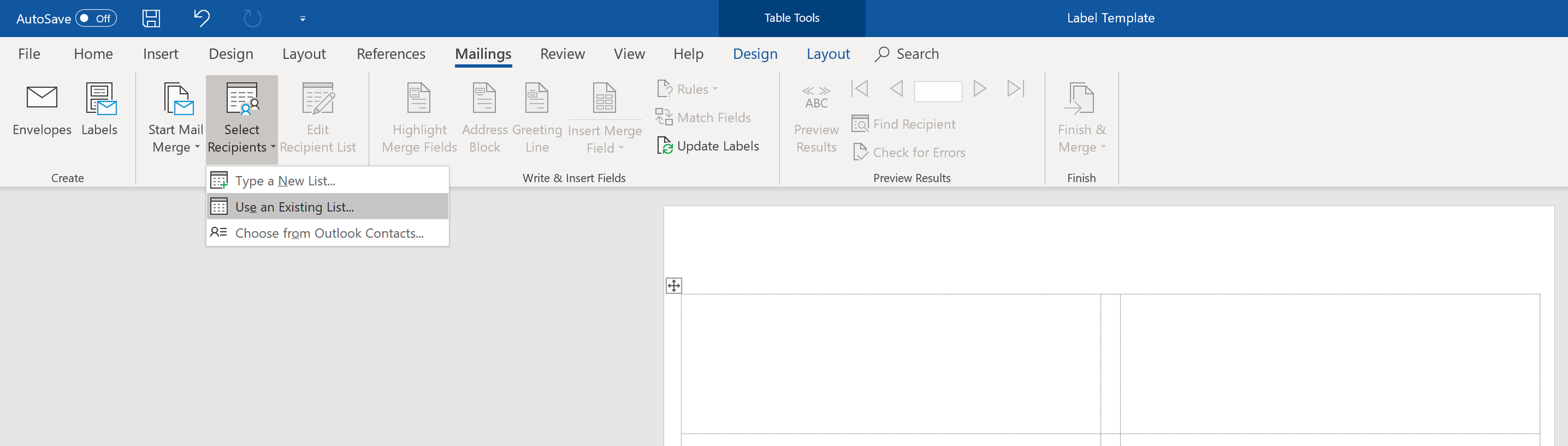 Select the Excel file to mail merge