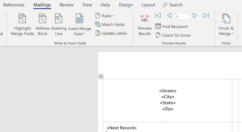 Add mail merge fields