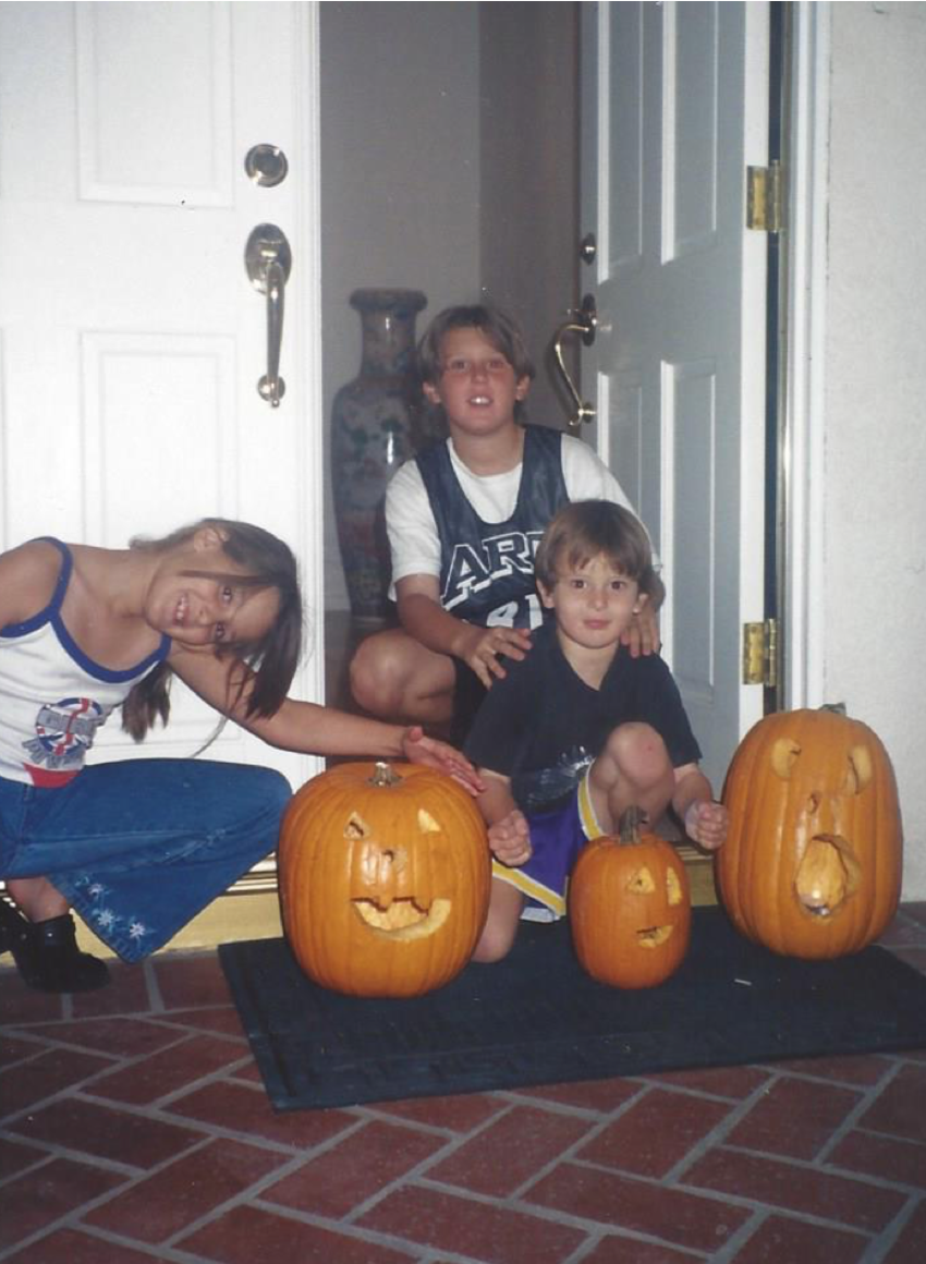 (Me with my brothers showcasing our Jack-o-Lanterns, 1998)