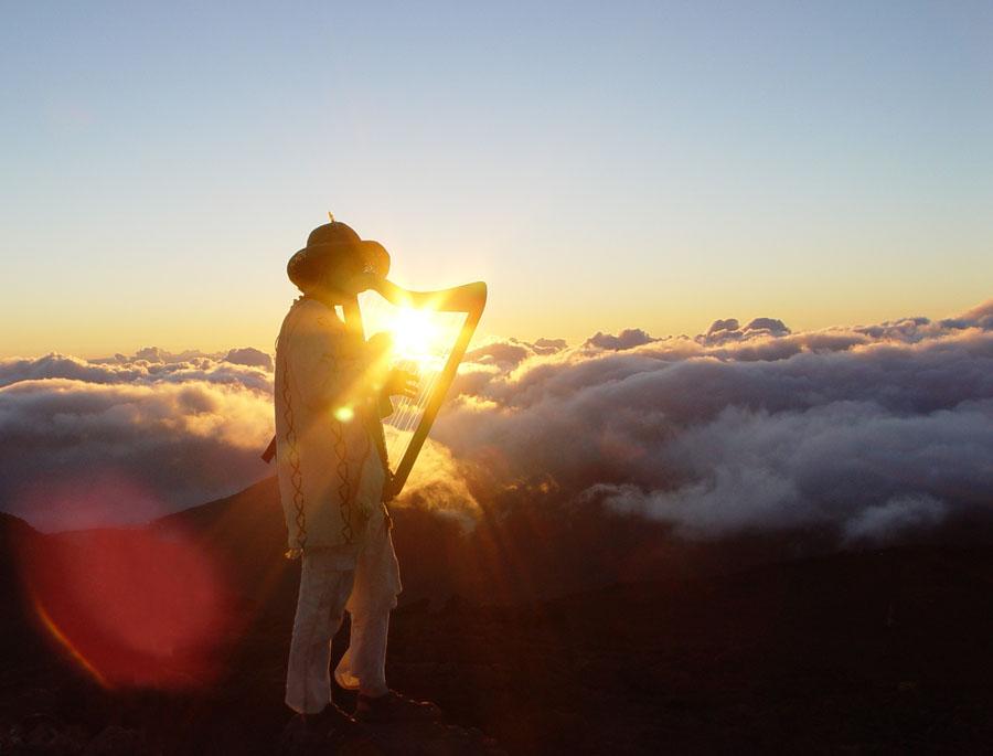 Micha Sweeney in Hawaii during sunrise at the volcano Haleakala.