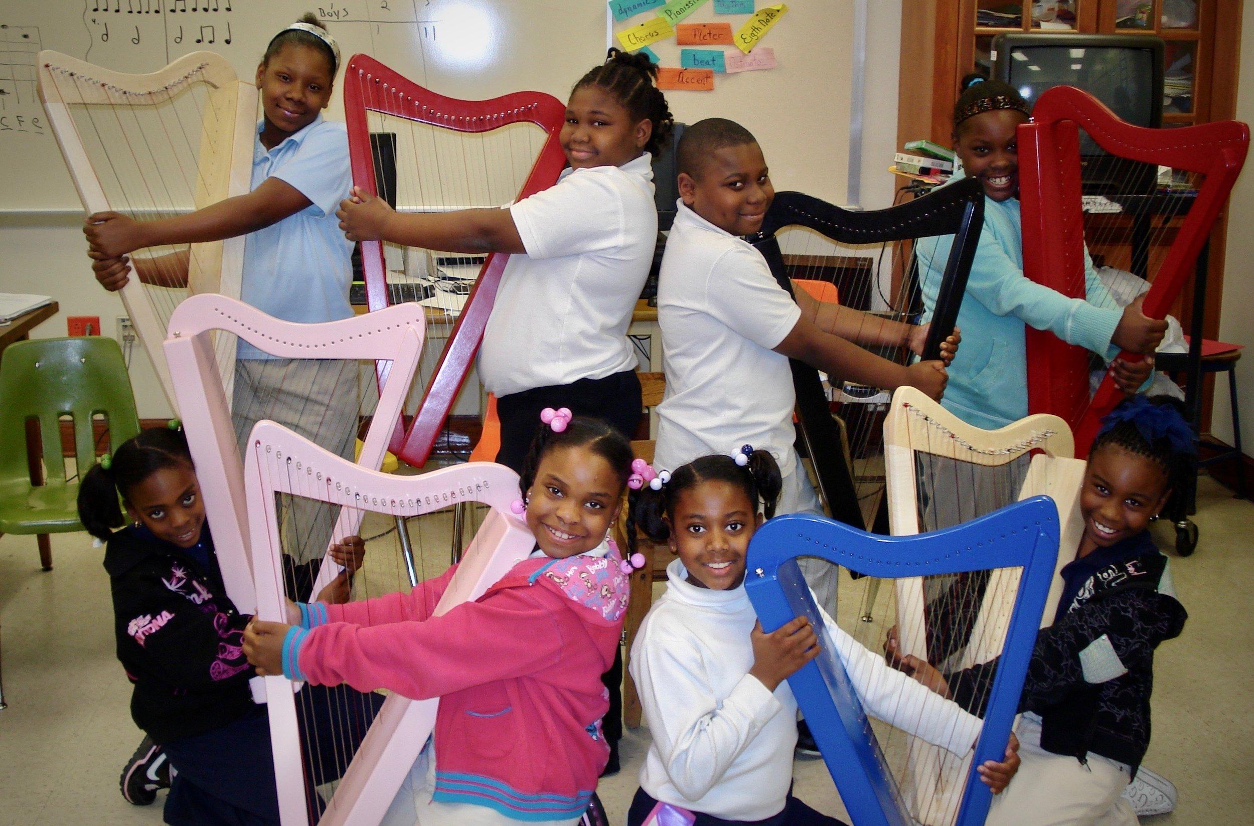 Lyrika Holmes' harp students in Atlanta, GA.