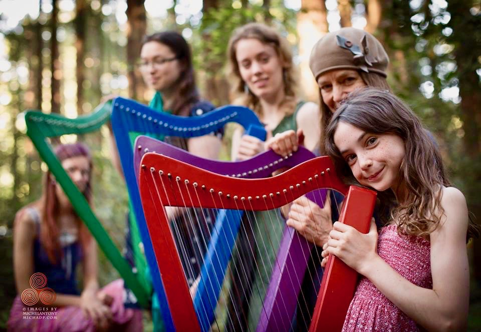 Bay Area Youth Harp Ensemble at a Save the Redwoods event.