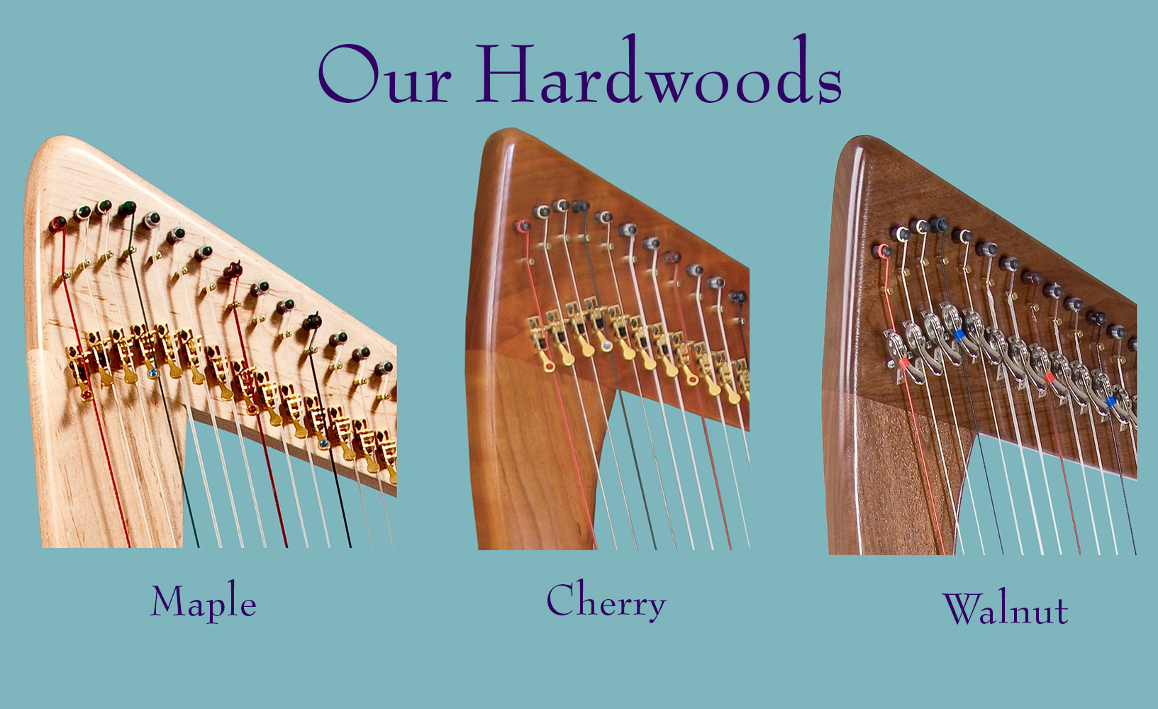 All of our Harpsicle®, Sharpsicle™, Flatsicle™, Fullsicle™, Grand Harpsicle® and Brilliant™ Harpsicle® Harps are built using maple as the hardwood. Special Edition Fullsicle™ Harps are made with either cherry or walnut.