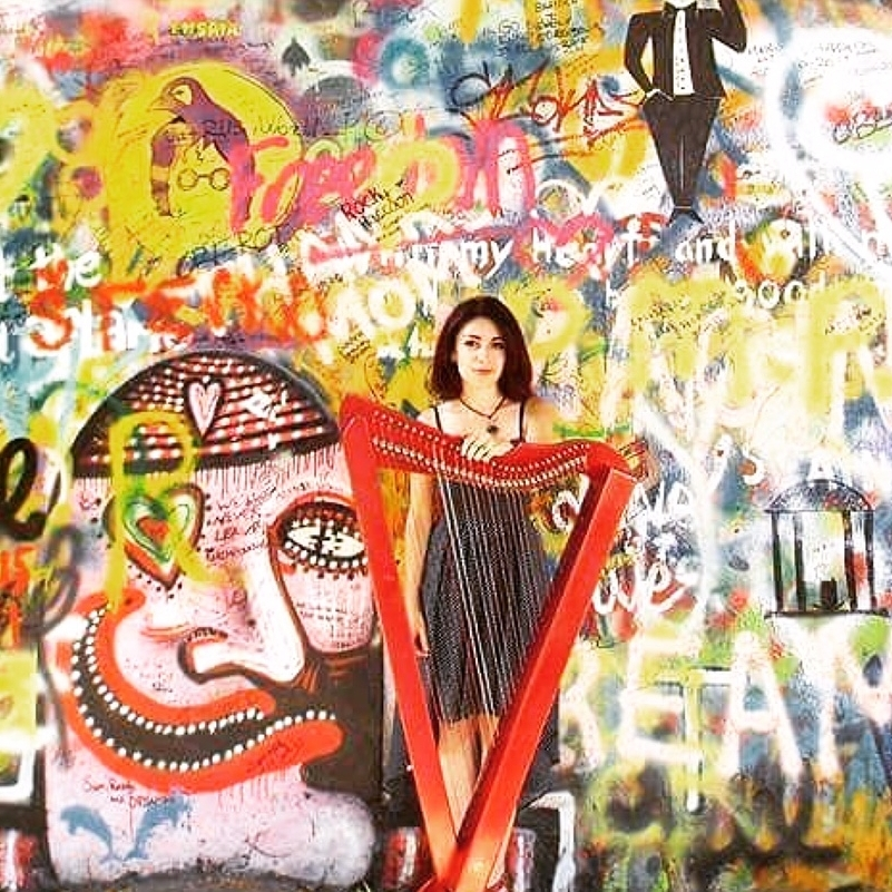 Carol Lopez Marin in Prague at the Lennon Wall