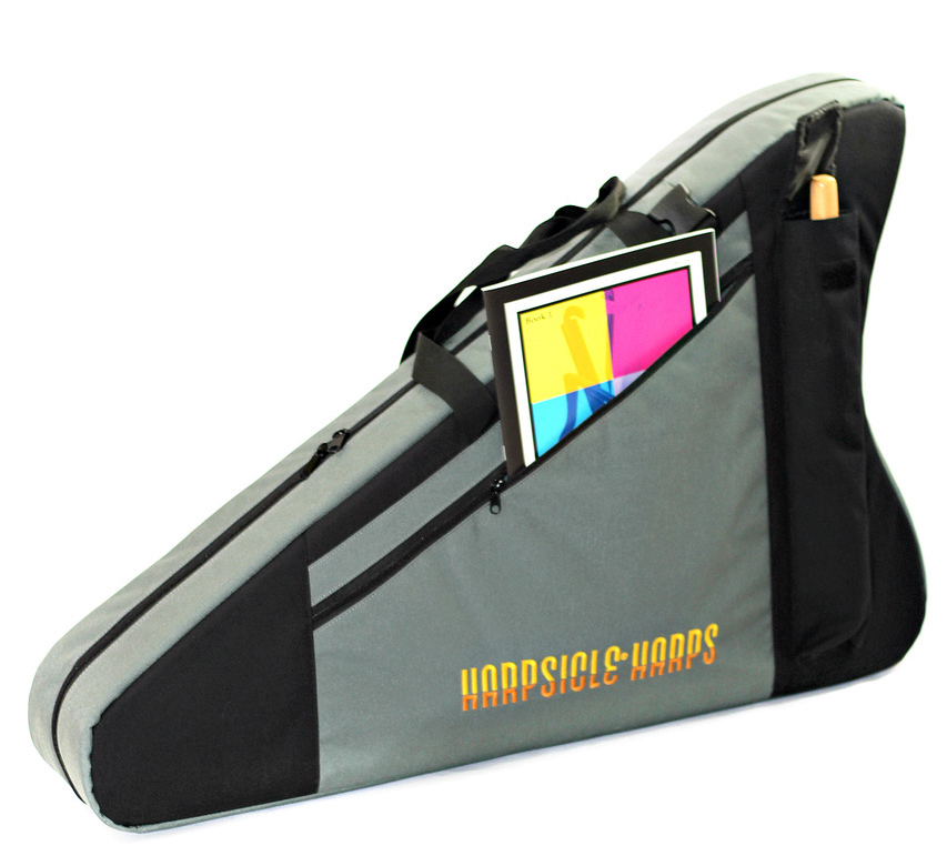 Main pocket and Harpsicle® Stick pocket on the Deluxe Harpsicle® Harp Bag.