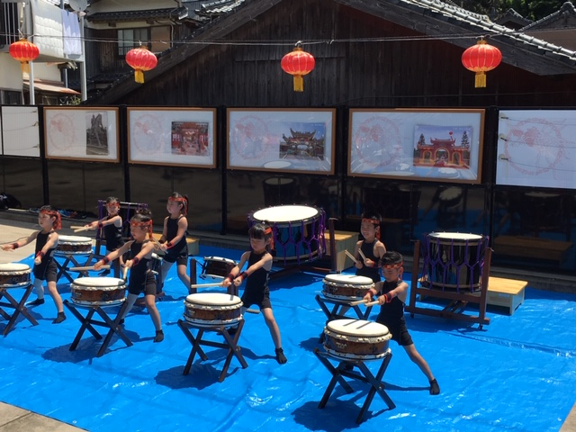 Young drummers performing at the Zheng Cheng-gong festival in Hirado, July 14, 2018.