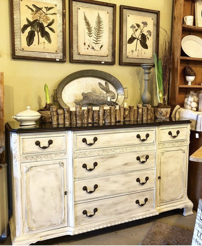 Antique Buffet - Glass topped $550