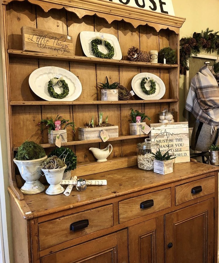 Antique StepbackScrubbed Pine Hutch - $925