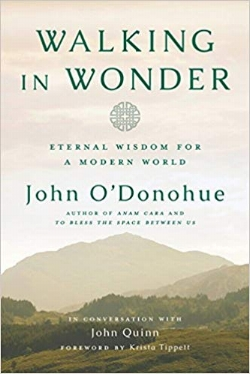"""Then on Saturday, just before opening presents, I came across this image of John O'Donohue's new posthumous book, and shared it with our group. The soft misty cover art filled me with a sense of comfort and peace. - """"Walking in Wonder"""" by John O'Donohue, release Nov '18"""