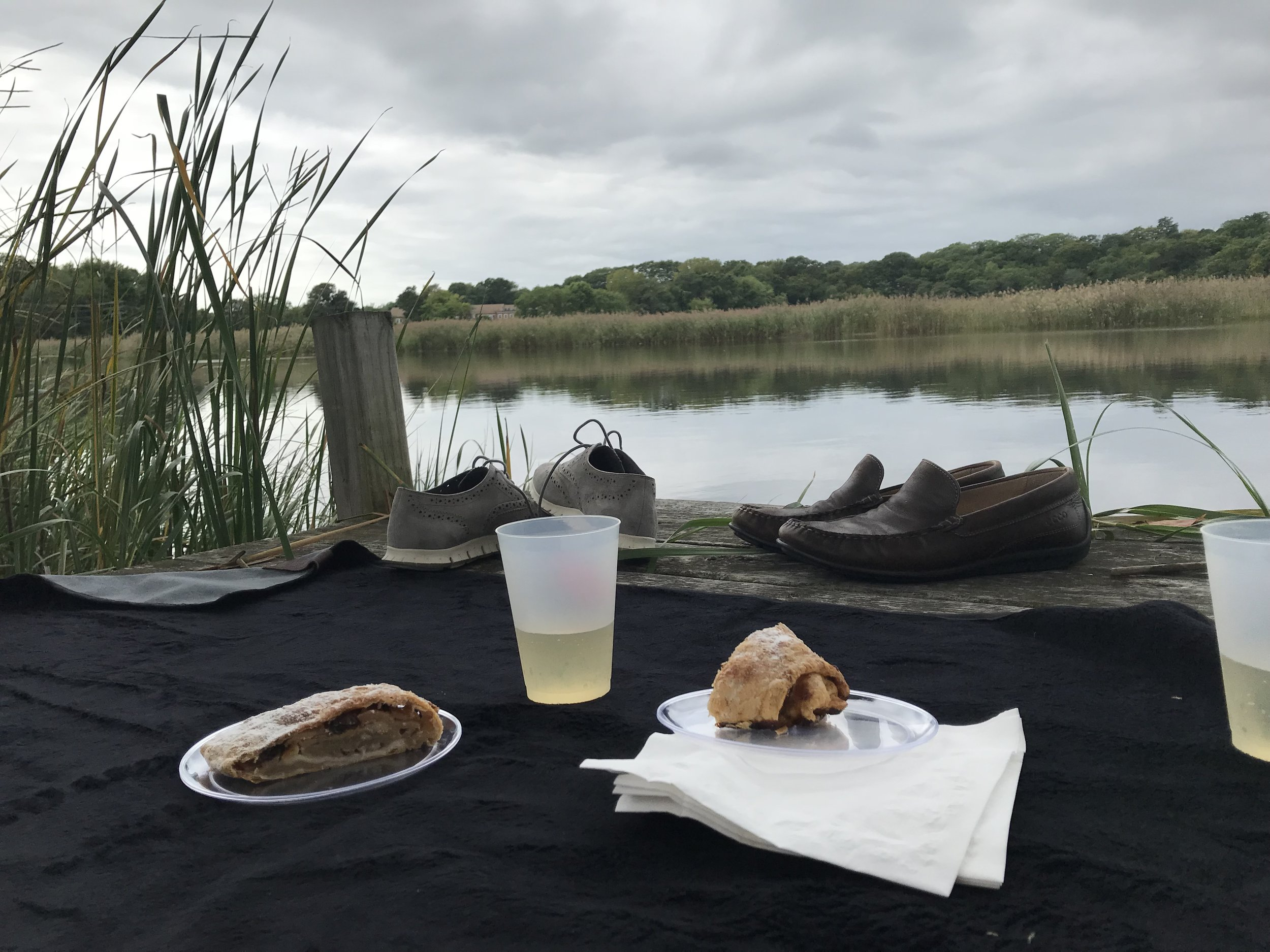 """On Friday, my actual birthday, I was treated to a surprise picnic with my husband. Idyllic location, and the absence of life stressors felt simply divine. After days of thick, oppressive humidity, this image of my vista stayed with me. - """"Strudel Picnic on the banks of the Lieutenent"""" by Christopher Wright"""