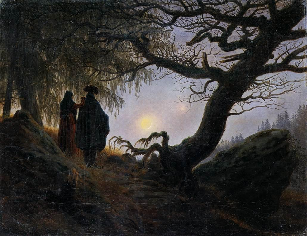 Man and Woman Contemplating the Moon  by Caspar David Friedrich, 1824.