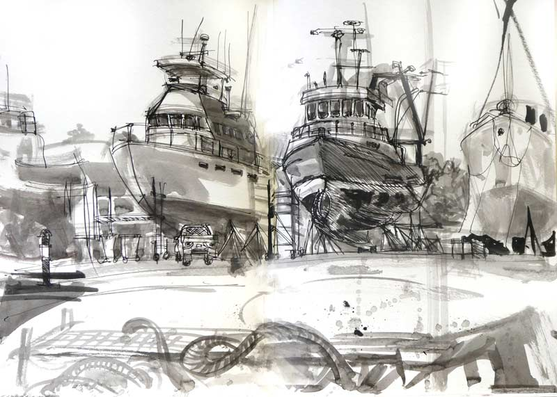 Lakes Entrance Dry Dock: TRAVEL SKETCHES  from a caravan trip in early 2017