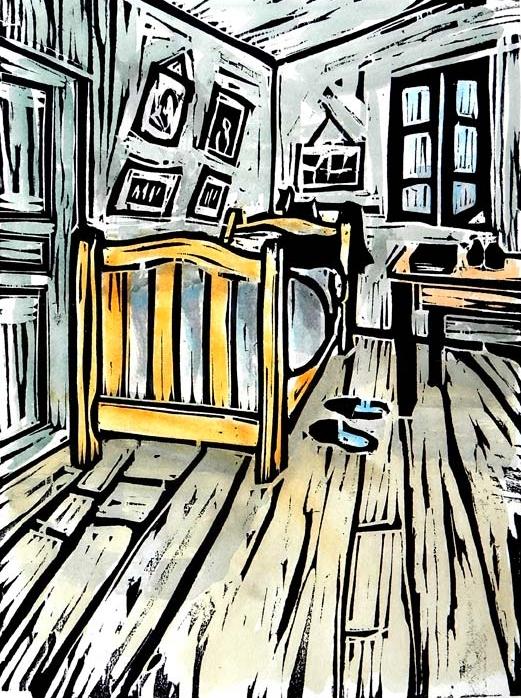 Woodblock of  Van Gogh Bed  from the  Memories Exhibition