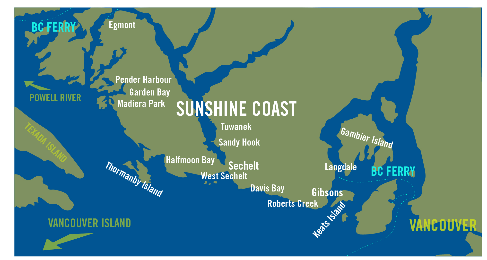 Map Sunshine Coast Bc Canada Service Area | Sunshine Coast, BC — First Response