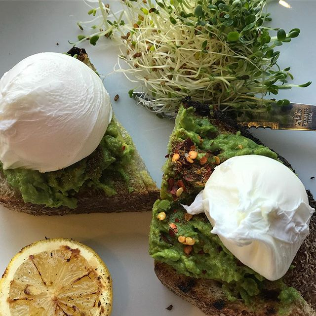 Starting this morning off with some chili pepper avocado toast, topped with two poached eggs & a side of sprouts with hemp seeds. Many studies show these healthy fats rich with omega 3s decrease inflammation, keep us satiated and reduce the risk of cardiovascular disease! Can you name the healthy fats in this post?