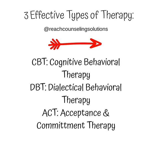 There are many different types therapy. My favorite is CBT or cognitive behavioral therapy. CBT focuses on how a person's thoughts, beliefs, and attitudes affect their behaviors. Each of these listed are types of Cognitive Behavioral Therapy.  DBT is Dialectical Behavior Therapy. It includes mindfulness, acceptance, and tolerating distress.  ACT is Acceptance and Commitment Therapy. ACT uses mindfulness skills to help people live and behave in ways that are consistent with their personal values.