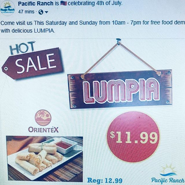 Coming visit us this Saturday and Sunday from for free food demo try out delicious Oriented Lumpia😊😋