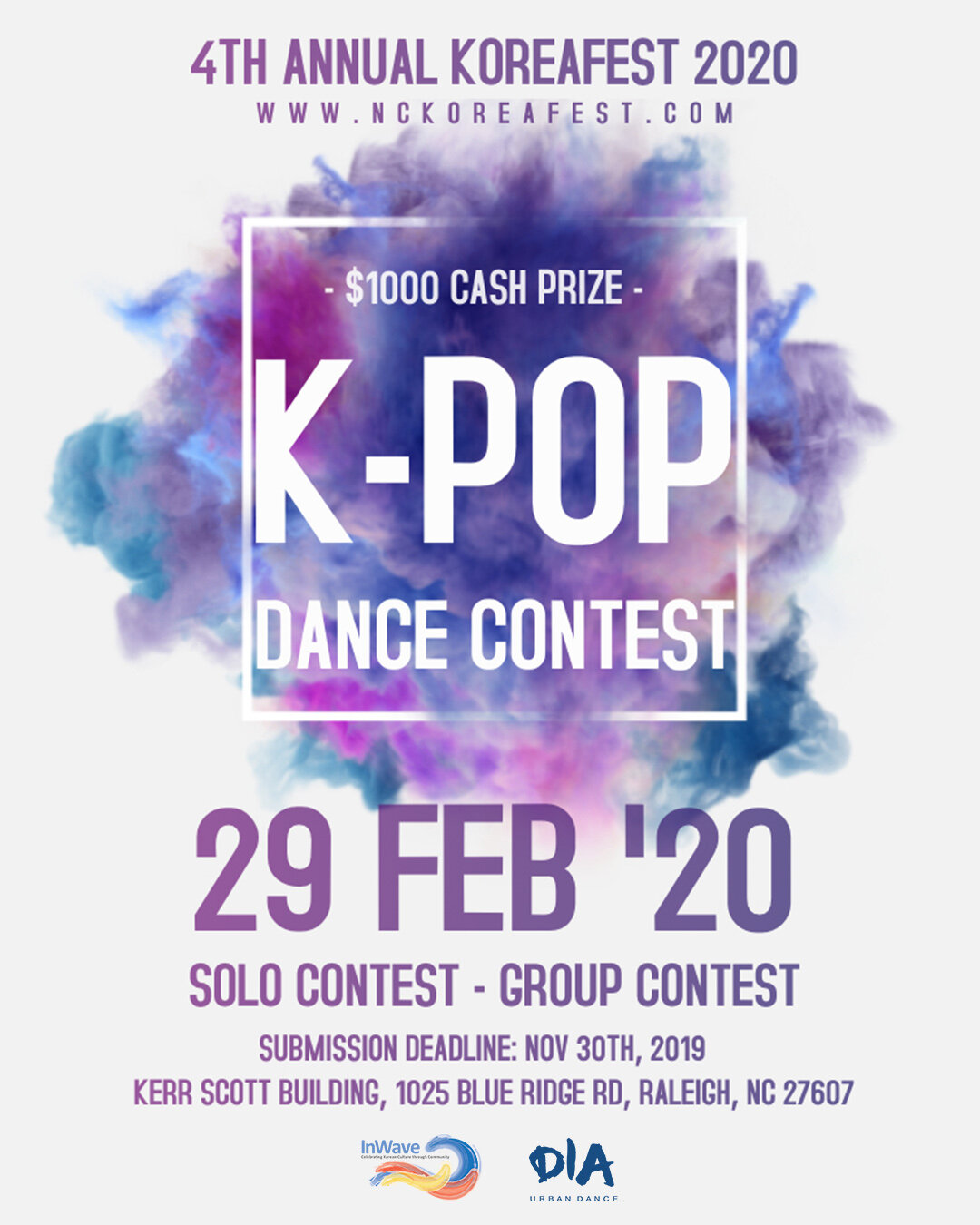 K-Pop Dance Contest - We are happy to announce that DIA Dance Studio will be our sponsor for KoreaFest 2020 K-Pop Dance contest! They will be organizing the dance contest this year!DIA Dance Studio is a a rising dance studio in North Carolina, USA. Founded in 2017, DIA have been hosting weekly dance workshops including urban dance, hip-hop, K-pop, locking, popping, waacking, and Afro beats. This season they will focus on bring in professional choreographers and instructors all over the world to North Carolina to share their love of dance. They also host seasonal K-pop themed events, and just hosted the very first K-pop Showcase in North Carolina this Summer! Their passion is to build a multicultural dance community that people can share dance, joy, friendship and love!Please check out their website for dance classes, workshops and events.www.diaurbandance.com