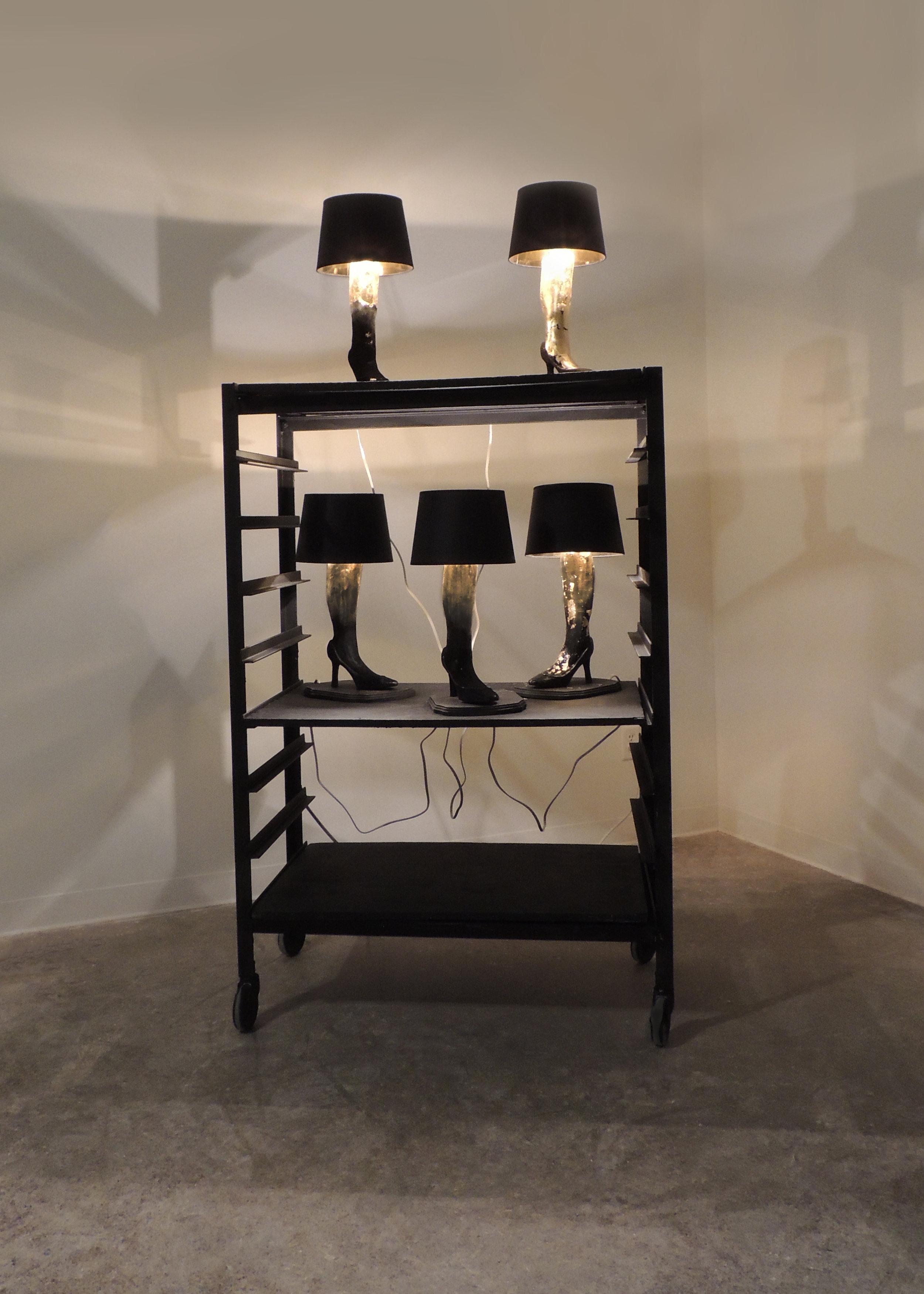 A Major Award  2016  Porcelain, Wood, Flocking, Gold Leaf, Lamp Components