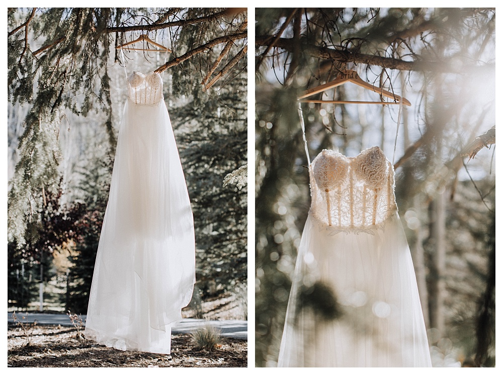 Mountain Wedding Photography in Vail Colorado | Destination Wedding Photographer Los Angeles, Wedding Dress Hanging shot