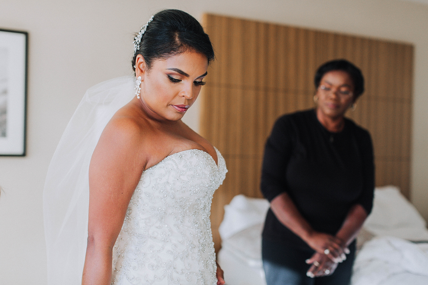 Bride and Mother Getting Ready, Downtown Los Angeles Marriott