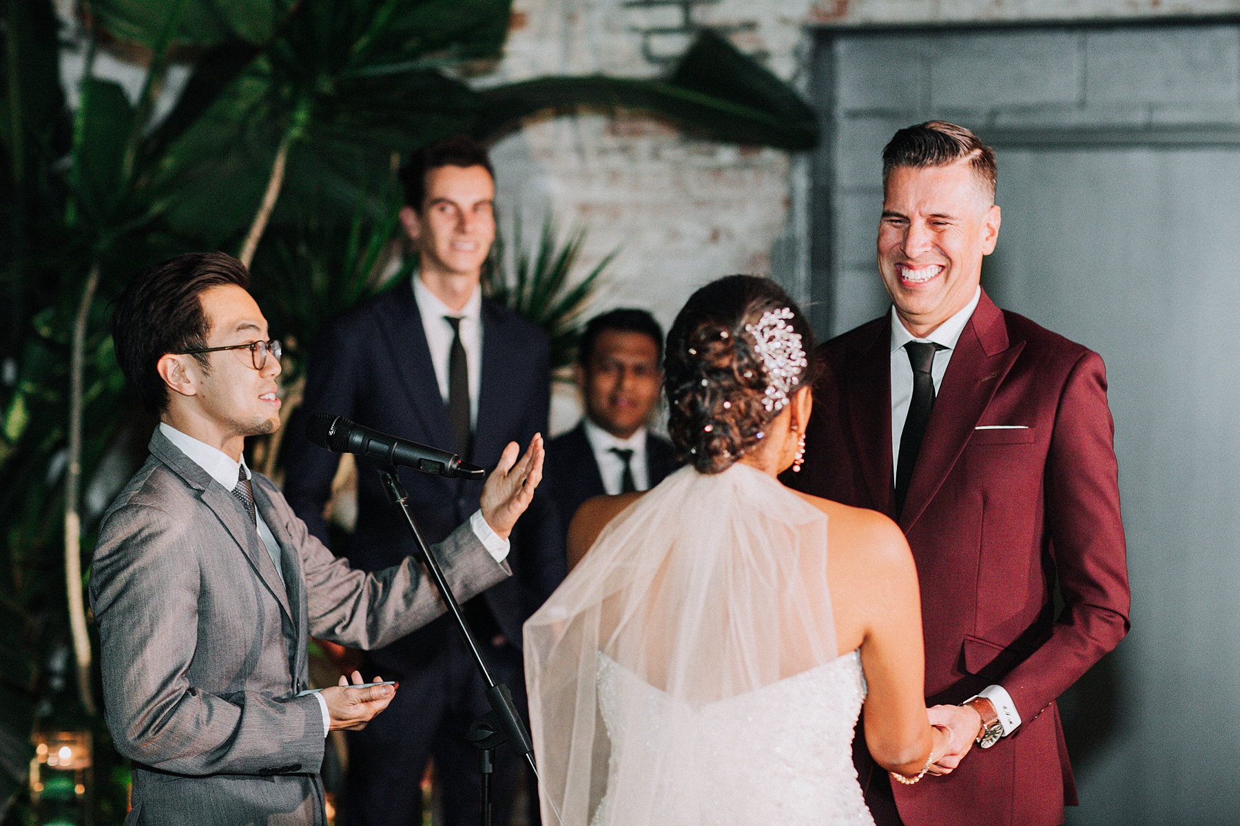 Bride and Groom at the Alter, Millwick Wedding Downtown Los Angeles