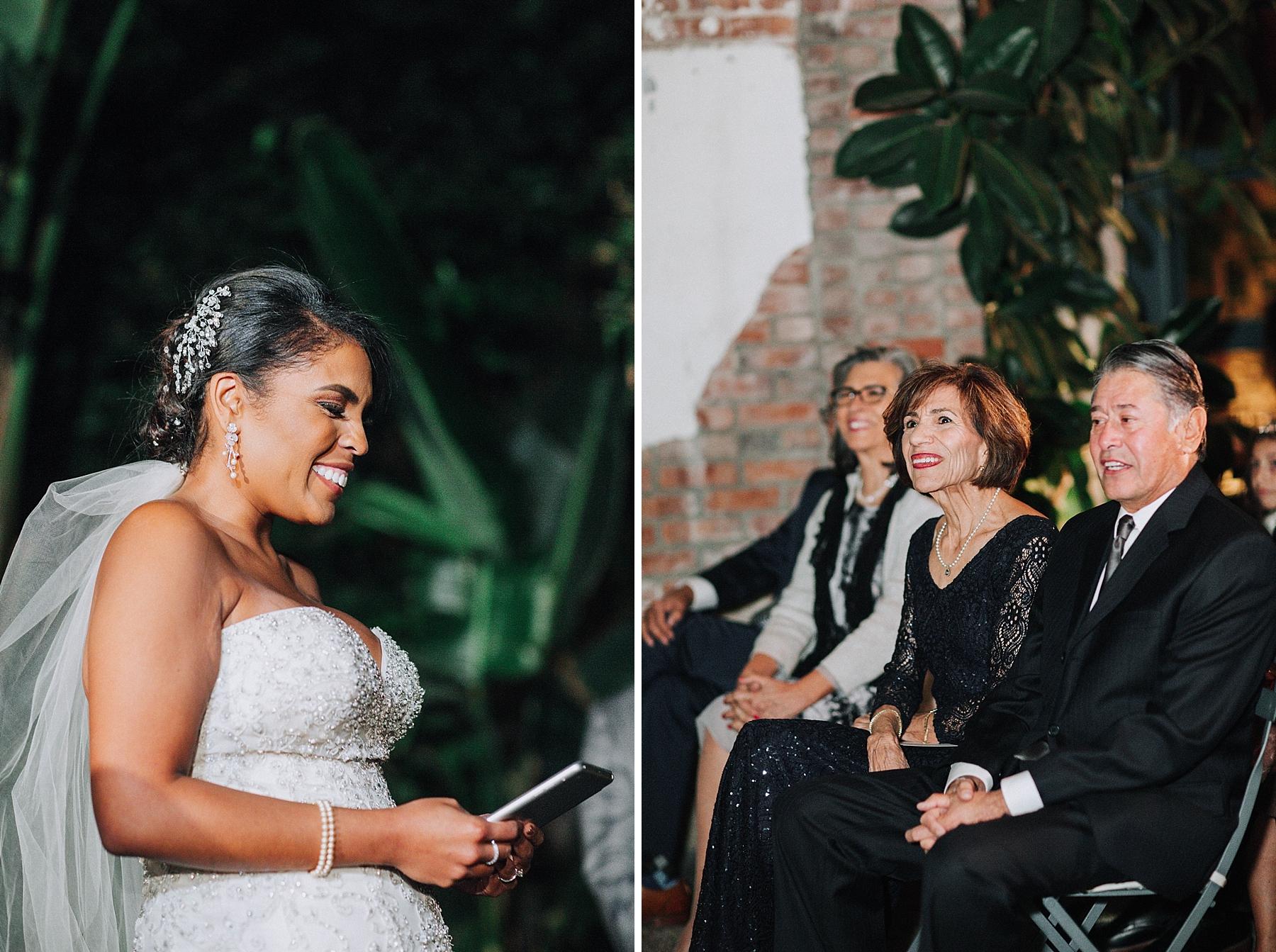 Bride reciting Vows, Millwick Wedding Downtown Los Angeles