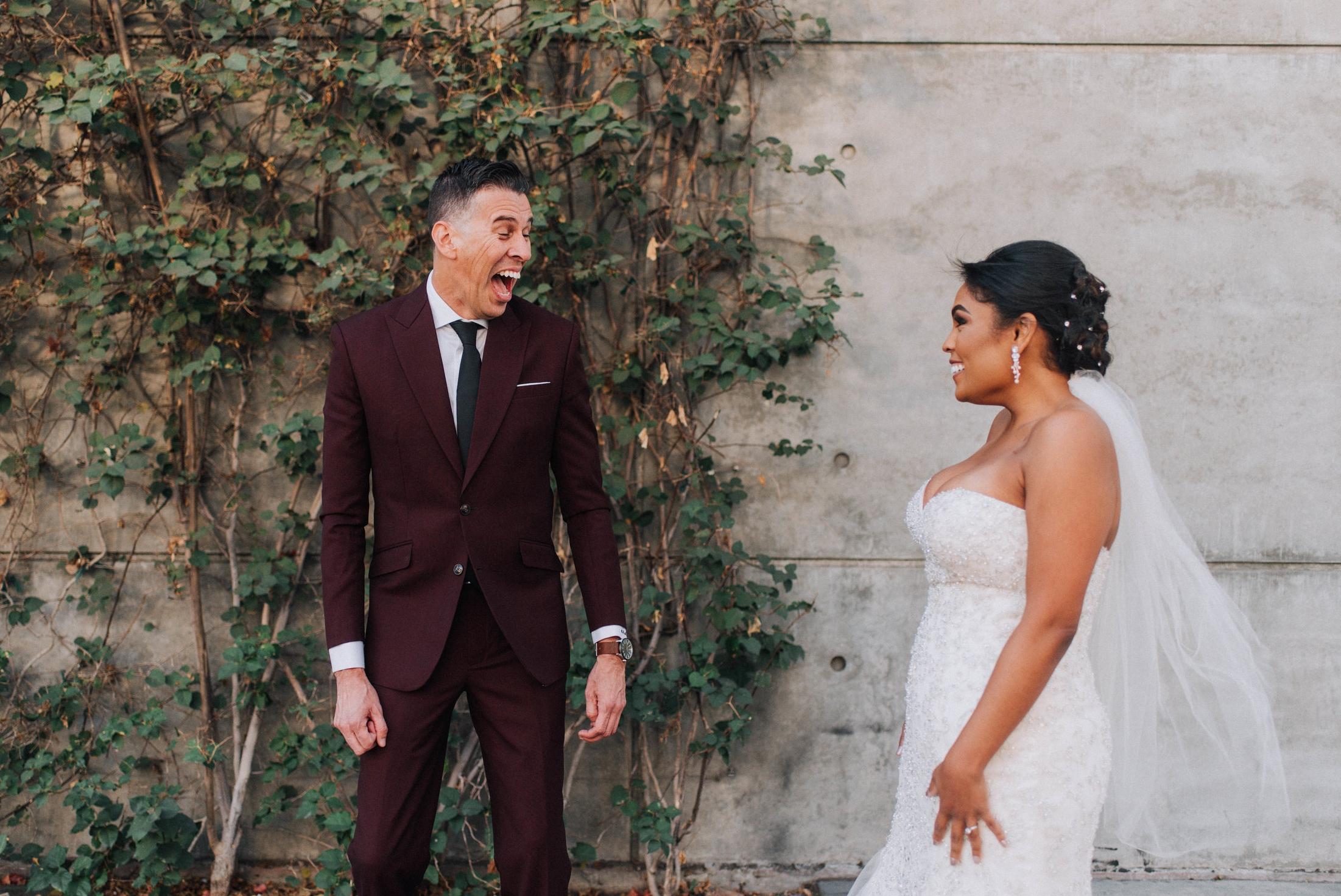Bride & Groom First Look Los Angeles Wedding