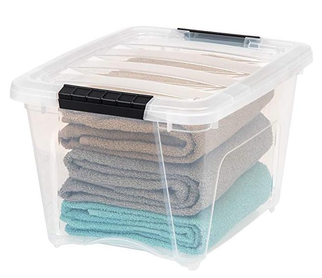 IRIS TB-17 Stack & Pull Box, 19 Quart, Clear, 6 Pack -