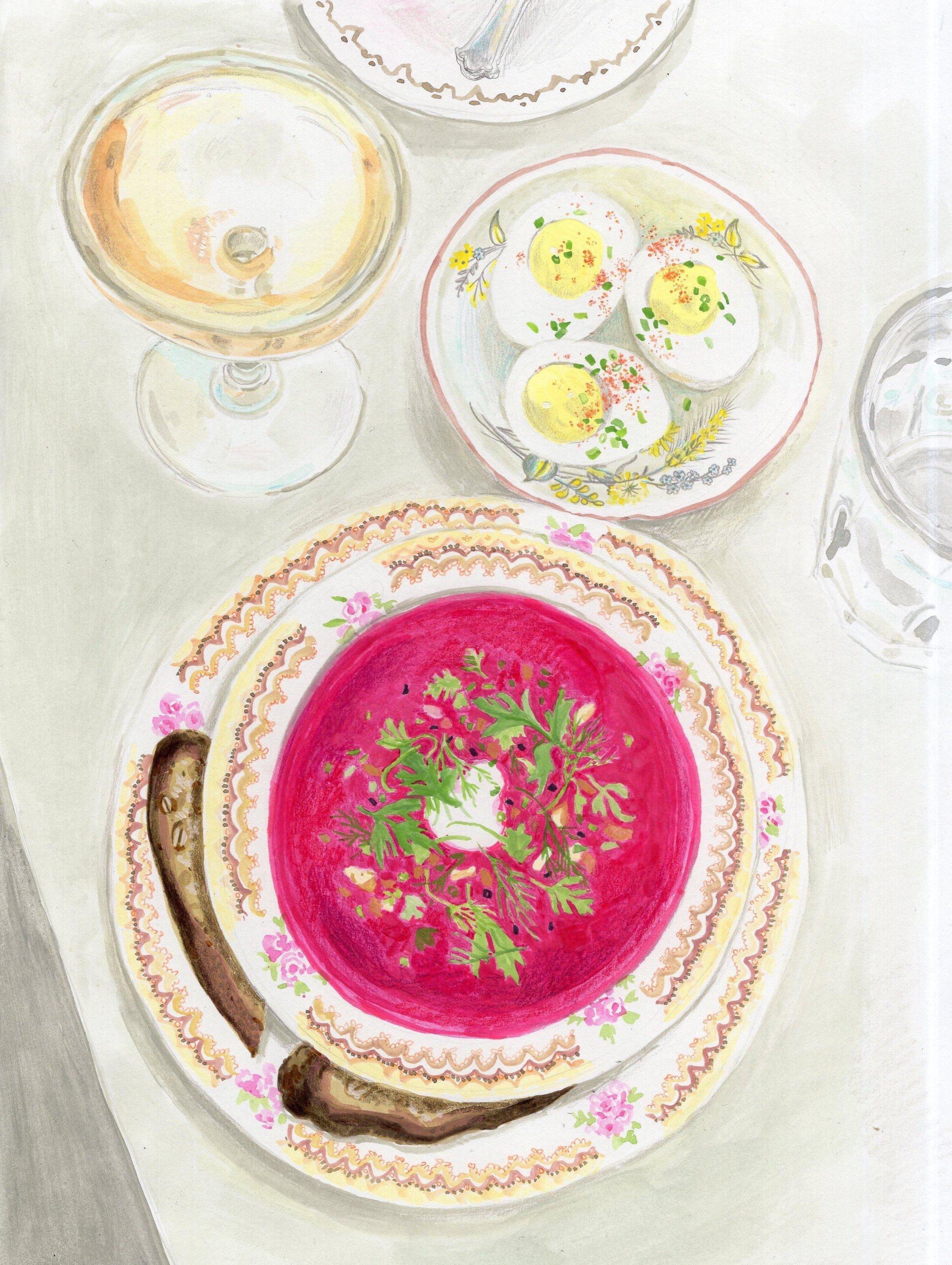 borsht, eggs, and rosé