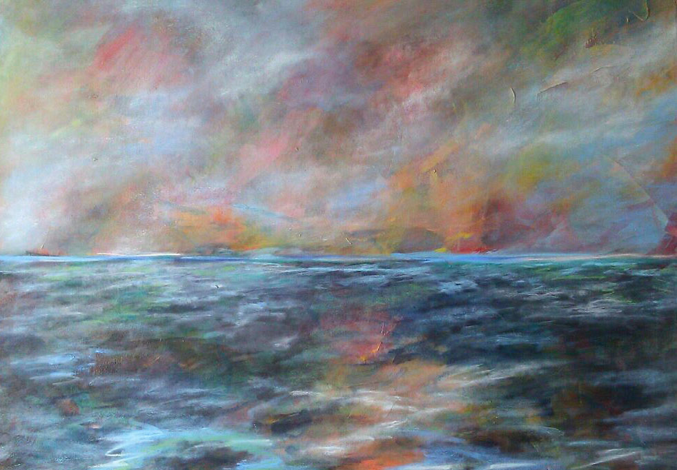 Impressionist Sunset over Water