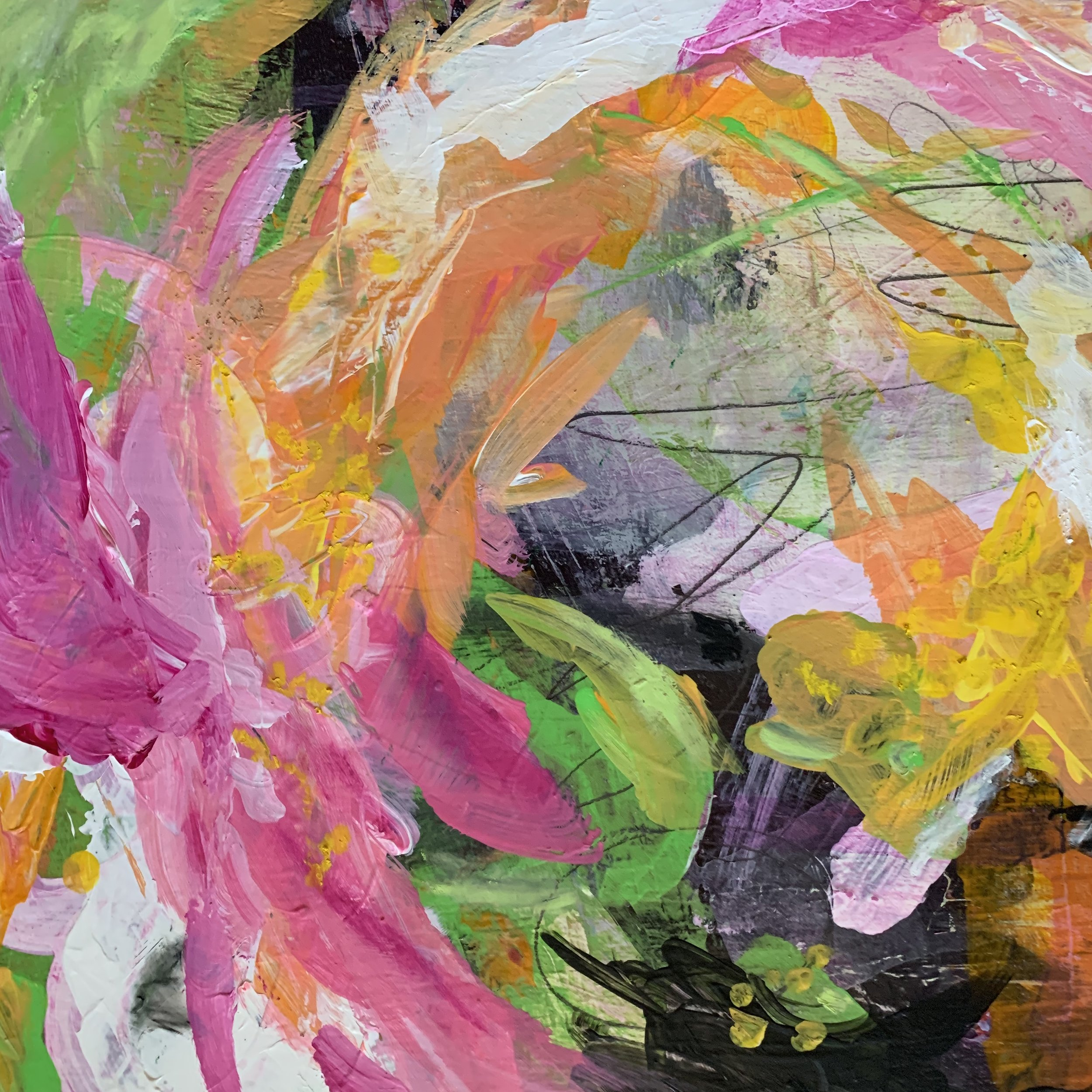 """Burst and Bloom, mixed media on birch, 12x12""""."""