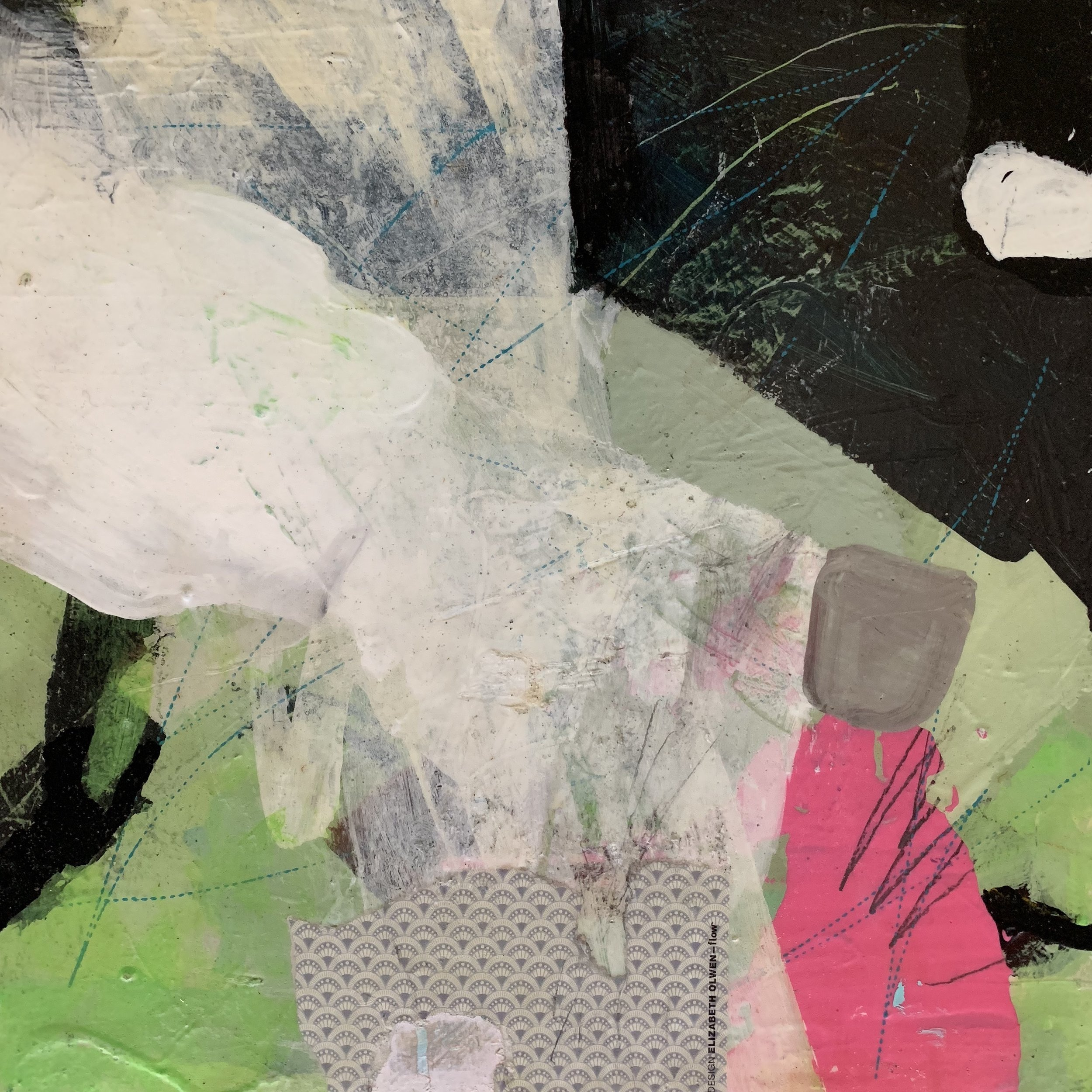 "Illusory Separation, mixed media on birch, 12z12""."