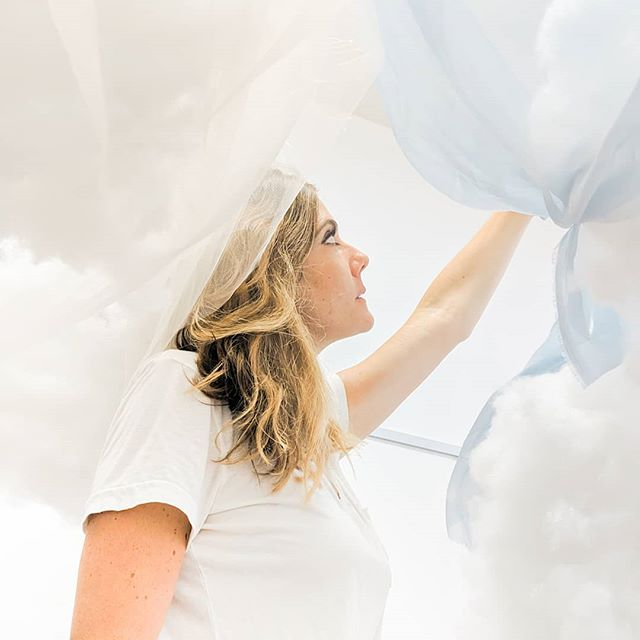 It's getting real y'all! Tomorrow is the big reveal of what @stefaniebalesfineart and I have been dreaming up all summer and building all week. Ready to get your head in the clouds? . Stop by her gallery tomorrow to see it in person!  #SBFAxGUSTO #sandiegoevents #wheresandiego #sandiegoartevents #SogniDiNuvole #clouddreams
