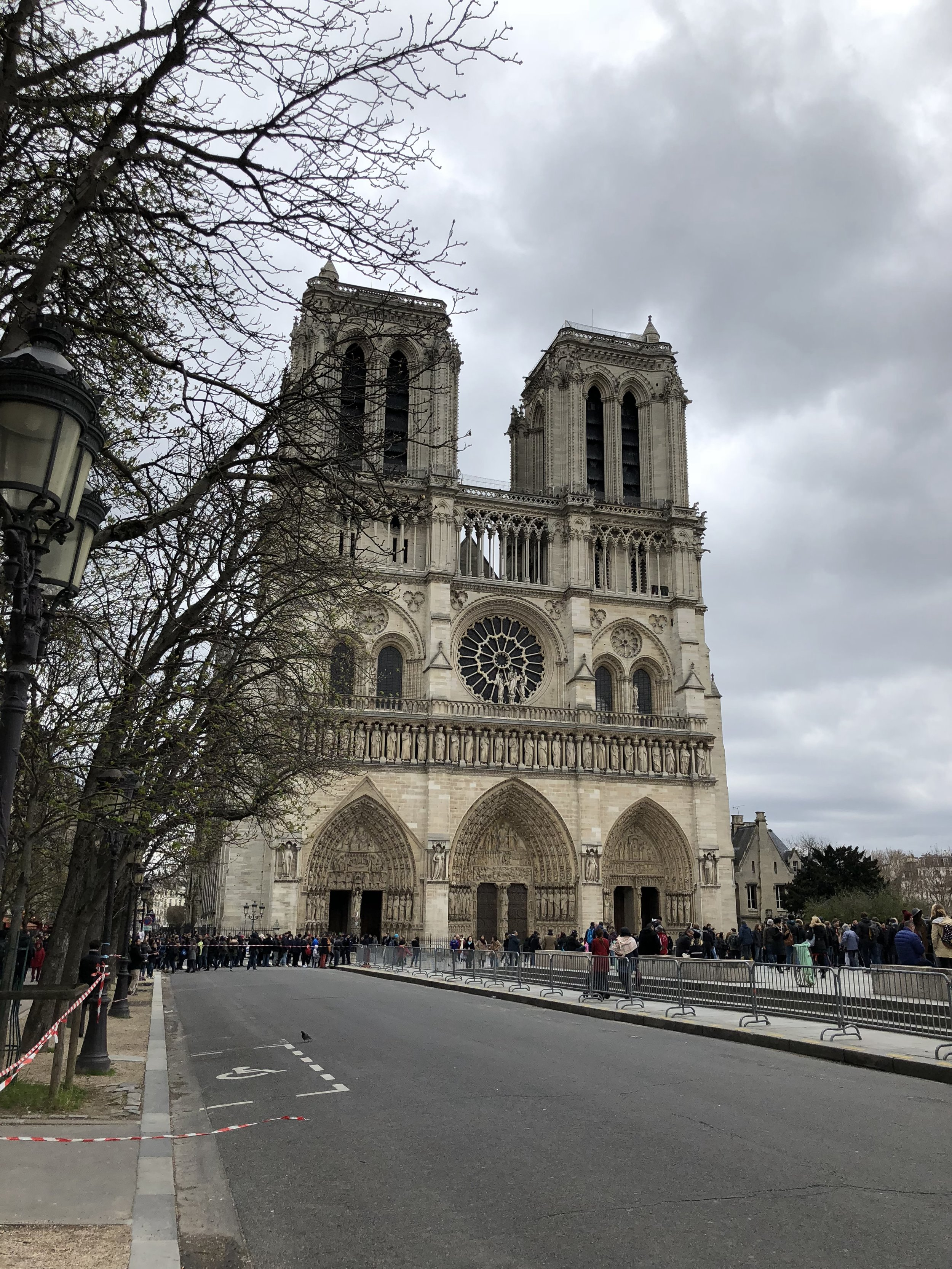 Front view of Notre Dame in Paris France