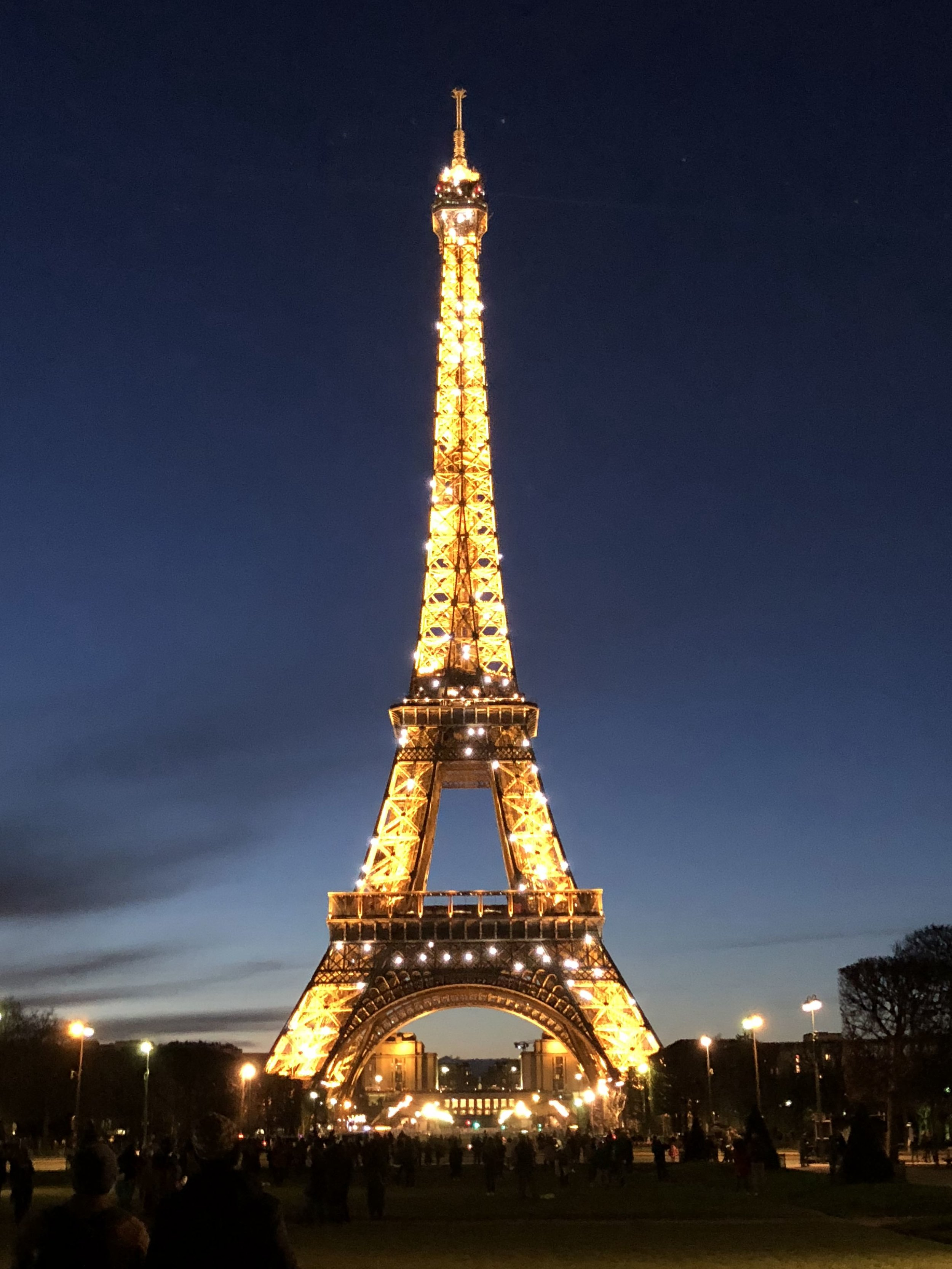 Sparkling lights of the eiffel Tower in Paris, France