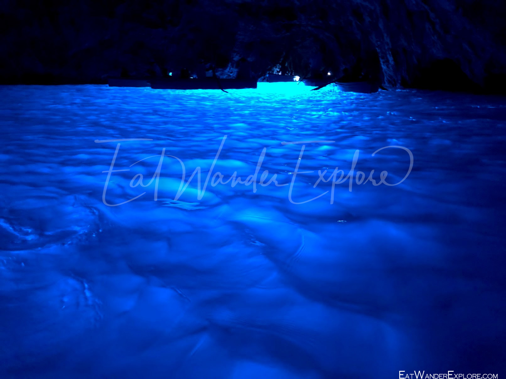 blue water in the blue grotto capri