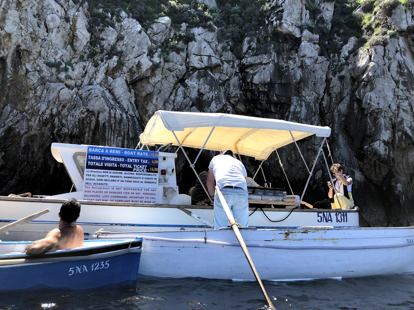 ticket boat to enter the blue grotto capri