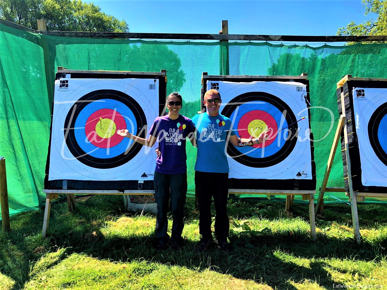 Bullseye target practice like Robin Hood in Nottingham