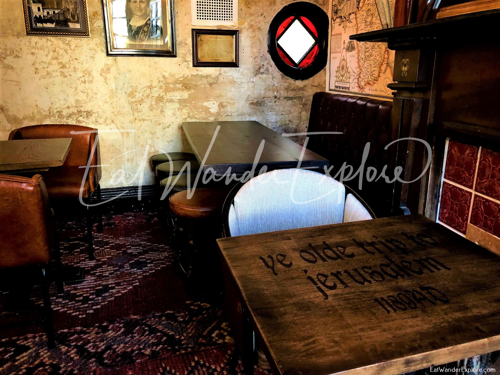 tables and seating in Ye Olde Trip to Jerusalem