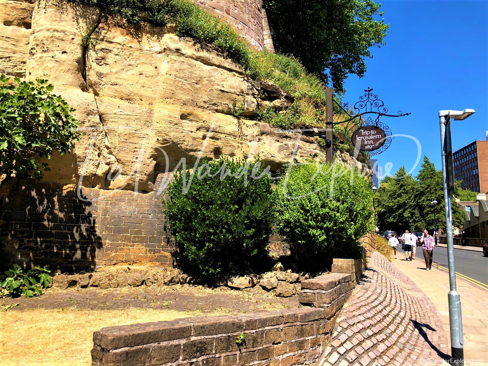 Nottingham castle wall next to Ye Olde Trip to Jerusalem