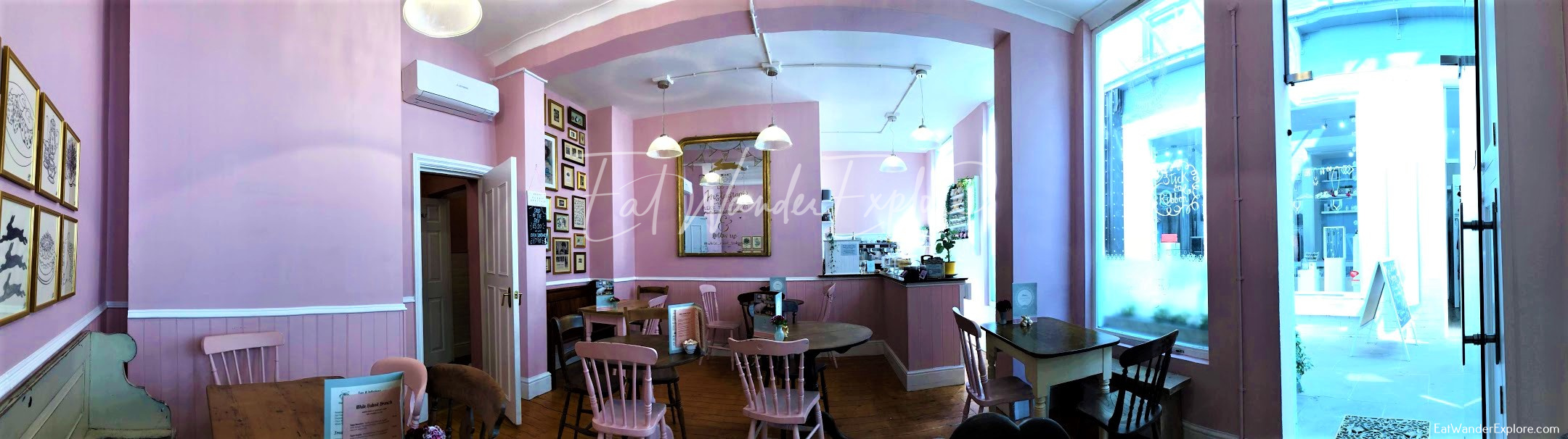 Panorama of White Rabbit Teahouse in Nottingham