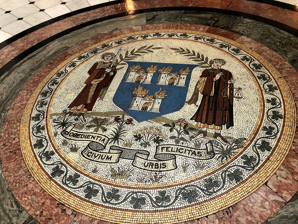 """""""The Obedience of the citizens produces a happy city"""" mosaic in City Hall"""