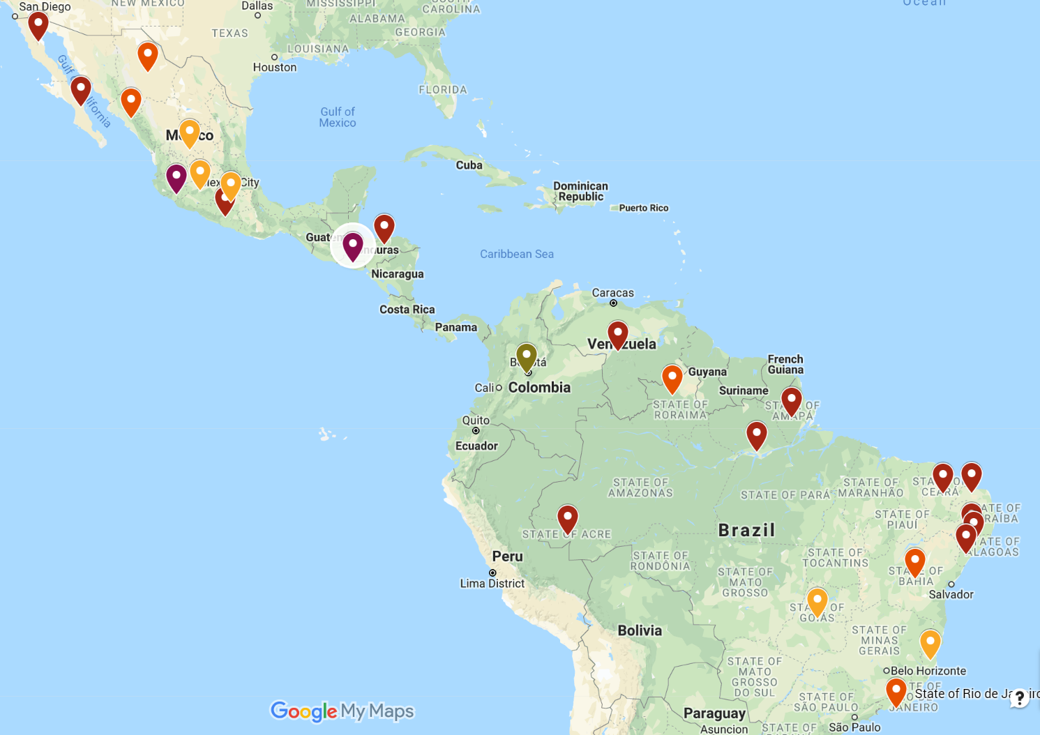 Danger Zones in Central & South America (Dark Red = Worse)