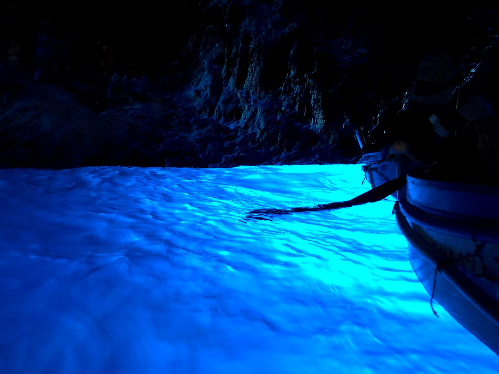 Glowing Water inside of the Blue Grotto