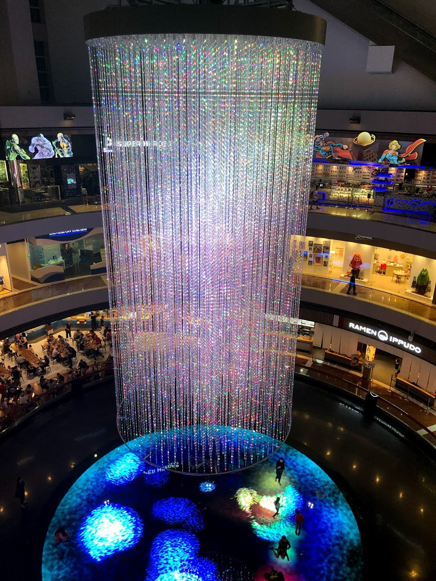 Shoppes at Marina Bay Sands water vortex in Singapore